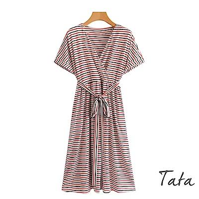 V領條紋洋裝(配腰帶) TATA
