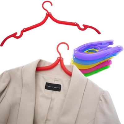 kiret 魔術伸縮可收納折疊衣架 彩色居家旅行必備 5入 (顏色隨機)