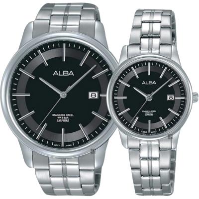 ALBA雅柏 日系時尚對錶(AS9D89X1+AH7N67X1)-黑/42+28mm