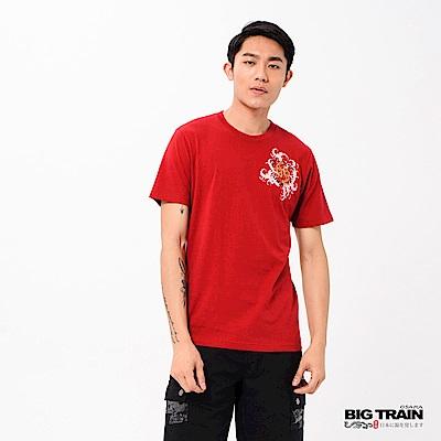 BIG TRAIN 翻江花鯉圓領短袖男T-紅色