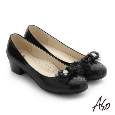 A.S.O 璀璨注目 真皮蝴蝶結飾釦奈米窩心低跟鞋 黑色