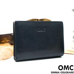 OMC - 原皮魅力真皮系列兩用零錢扣短夾-星辰藍