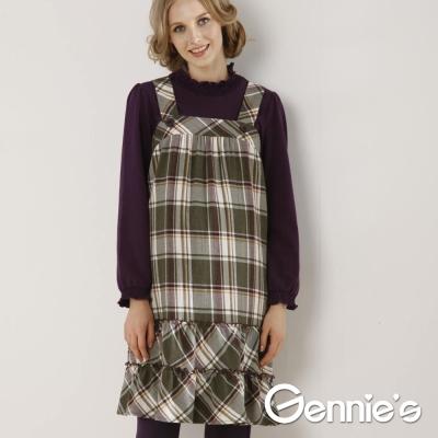 Gennie's奇妮- 經典格紋吊帶平口秋冬孕婦背心洋裝(G2W19)-綠格
