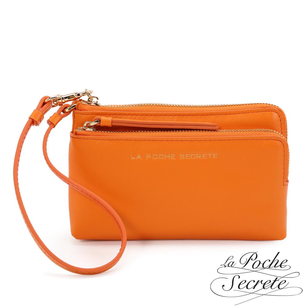 La Poche Secrete 簡約風格真皮質感雙層L型拉鍊手拿包-魅力橘