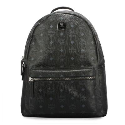 MCM STARK 滿版LOGO後背包-中型/黑色
