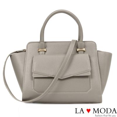 La Moda 通勤首選信封造型大容量肩背斜背托特包(灰)