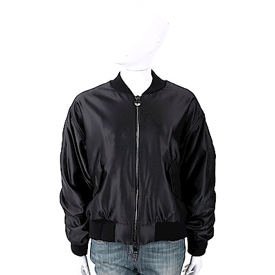 Chiara Ferragni Logomania 水晶大眼睛黑色緞面飛行員夾克