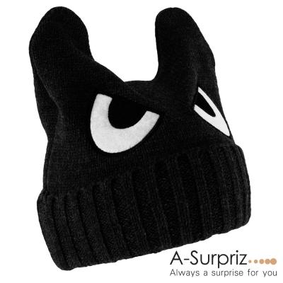 A-Surpriz-可愛眼睛反摺小惡魔針織帽-黑色