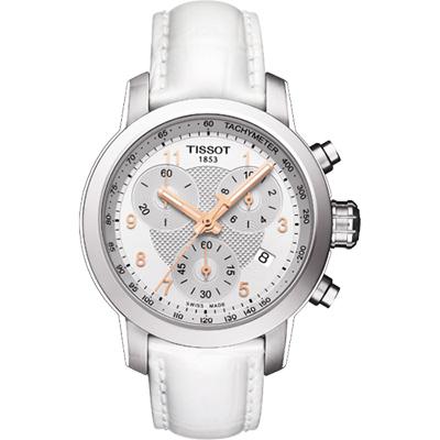 TISSOT PRC 200 ladies 唯美時尚計時腕錶-銀x白色錶帶/35mm
