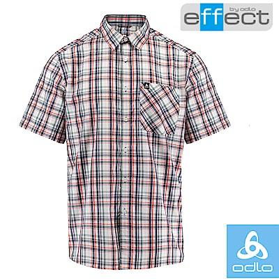 【瑞士 ODLO】男款 輕量級銀離子快乾格子短袖襯衫_深海藍/橘紅格紋
