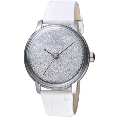 Swarovski施華洛世奇璀璨光彩時尚腕錶-38mm/銀x白色