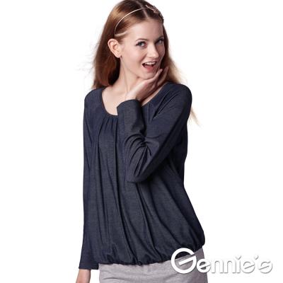 Gennie-s奇妮-時尚簡約風拼色秋冬哺乳洋裝