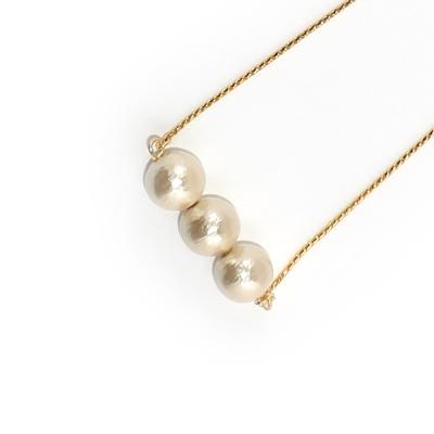 JewCas Cotton Pearl系列6mm棉珍珠3粒項鍊_JC2457-6