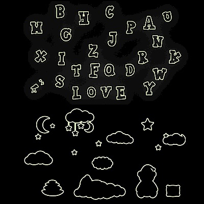 Pond's 夜光壁貼~英文字母、可愛熊Y0001、10