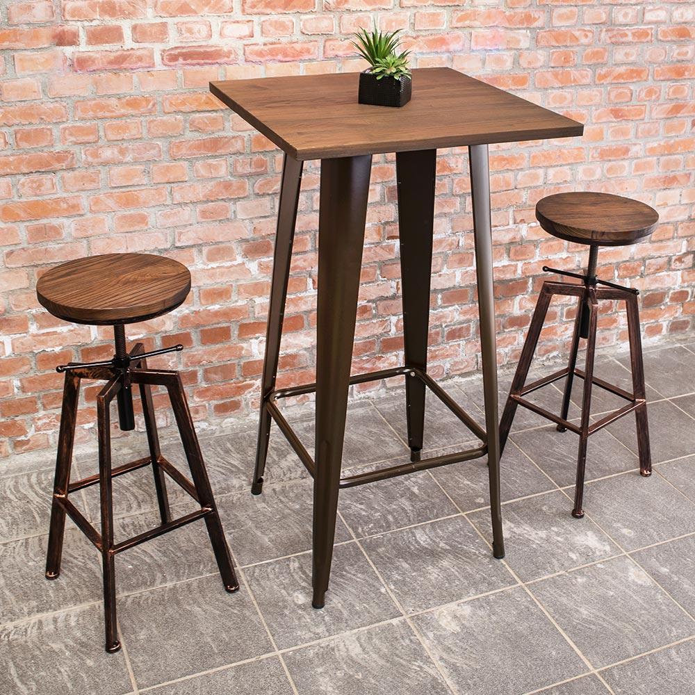 Boden-加登2尺工業風實木鐵腳高吧台桌椅組合(一桌二椅)60x60x108cm
