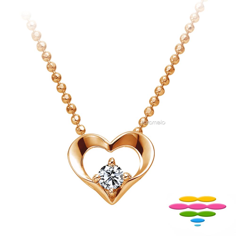 彩糖鑽工坊 14K玫瑰金 愛心鑽石項鍊 心有獨鍾系列