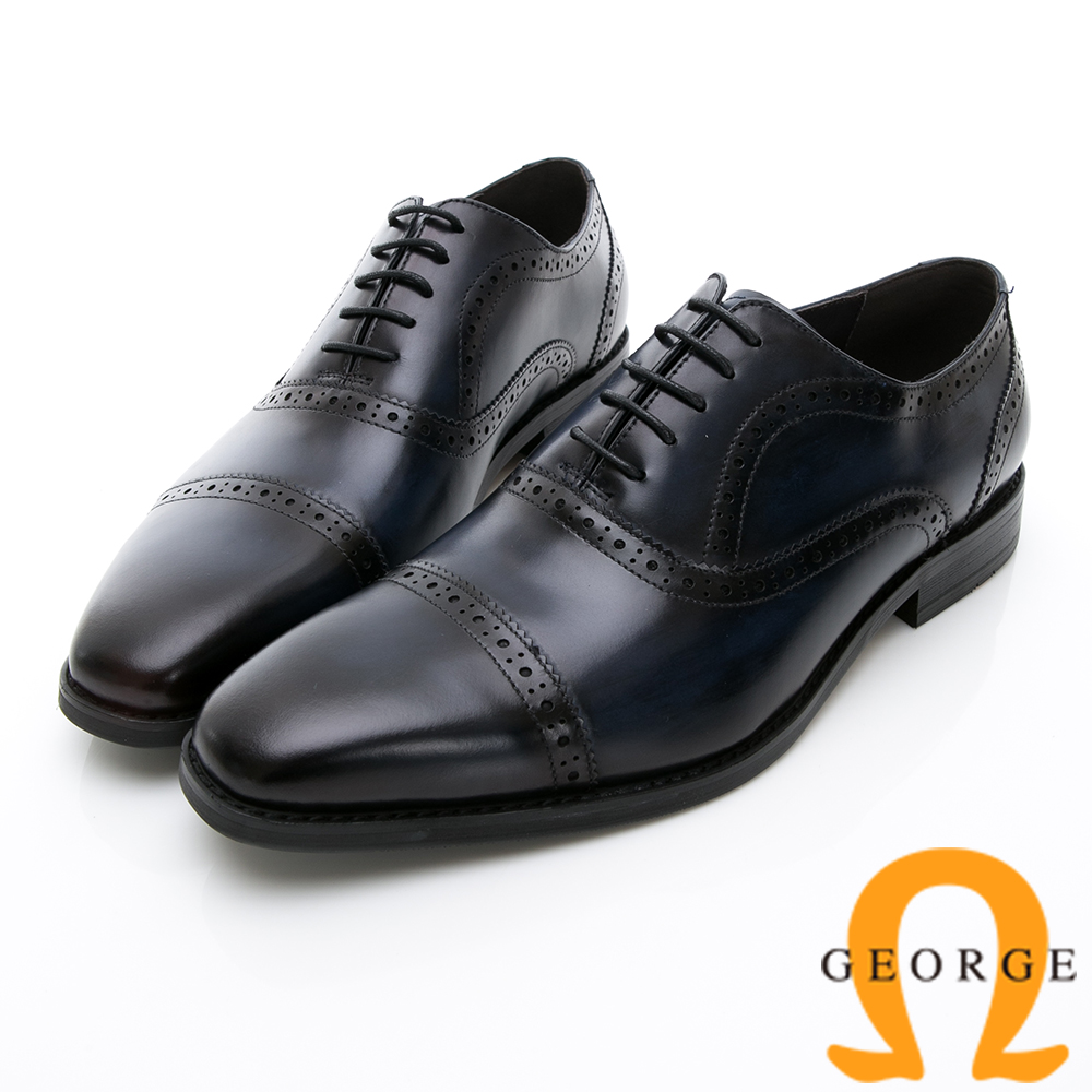 Amber 手工雙色拼接綁帶紳士鞋皮鞋-藍