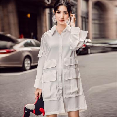 透膚拼接多口袋長袖長款襯衫 (白色)-Kugi Girl