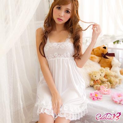 【Caelia】專屬魅力!柔緞蕾絲睡襯衣