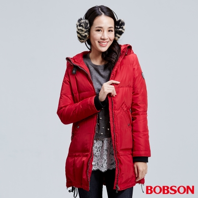 BOBSON-女款長版羽絨紅色外套