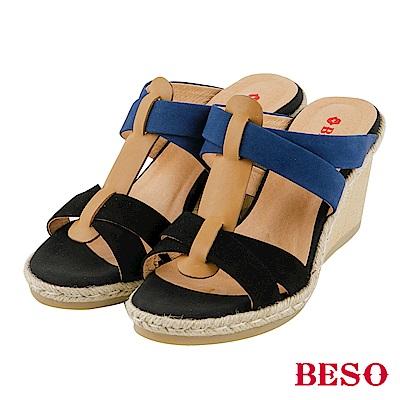 BESO清夏涼感 全真皮交叉編織撞色楔型涼拖鞋~黑