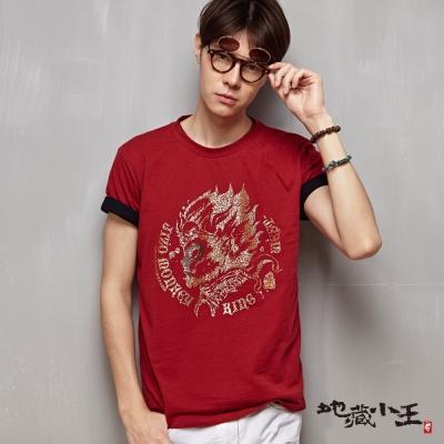 地藏小王 BLUE WAY 側臉悟空短袖T恤-磚紅