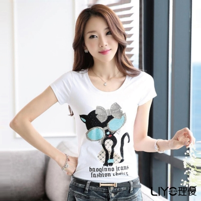 LIYO理優印花貼鑽T恤(白)