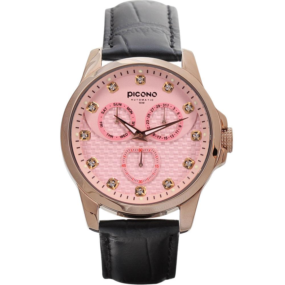 PICONO 時尚簡約全日曆手錶 - 編織三眼日曆系列 - 玫瑰金-粉/40mm