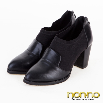 nonno性感歐美-質感皮革金絲彈性拼接粗跟鞋-黑
