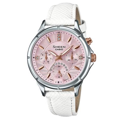 SHEEN粉嫩系施華洛世奇水晶LED照明腕錶(SHE-3047L-4B)粉紅面X白35mm