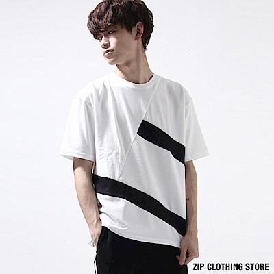 異材質拼短袖T恤(3色) ZIP日本男裝