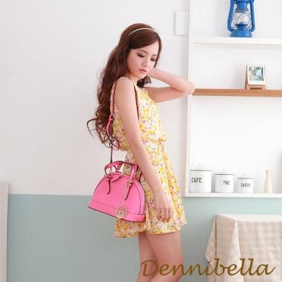 Dennibella 丹妮貝拉 -真皮斜背貝殼包-桃紅