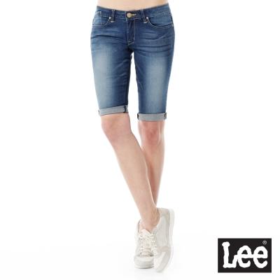Lee 牛仔短褲刷白低腰緊身窄管-女款-中藍