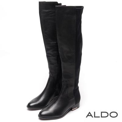 ALDO 黑色拼接幾何弧形車線粗跟長靴~尊爵黑色
