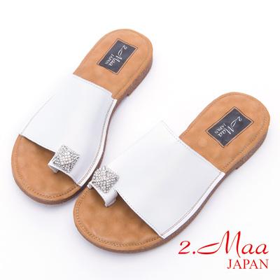 2.Maa-極致閃耀水鑽平底涼拖鞋-白