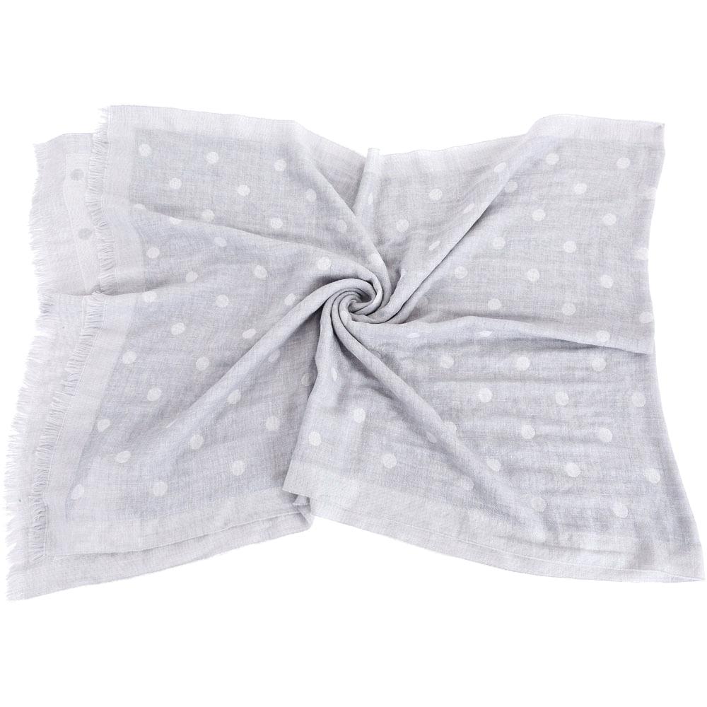 FABIANA FILIPPI 灰色圓點織紋美麗諾羊毛圍巾(100%WOOL)