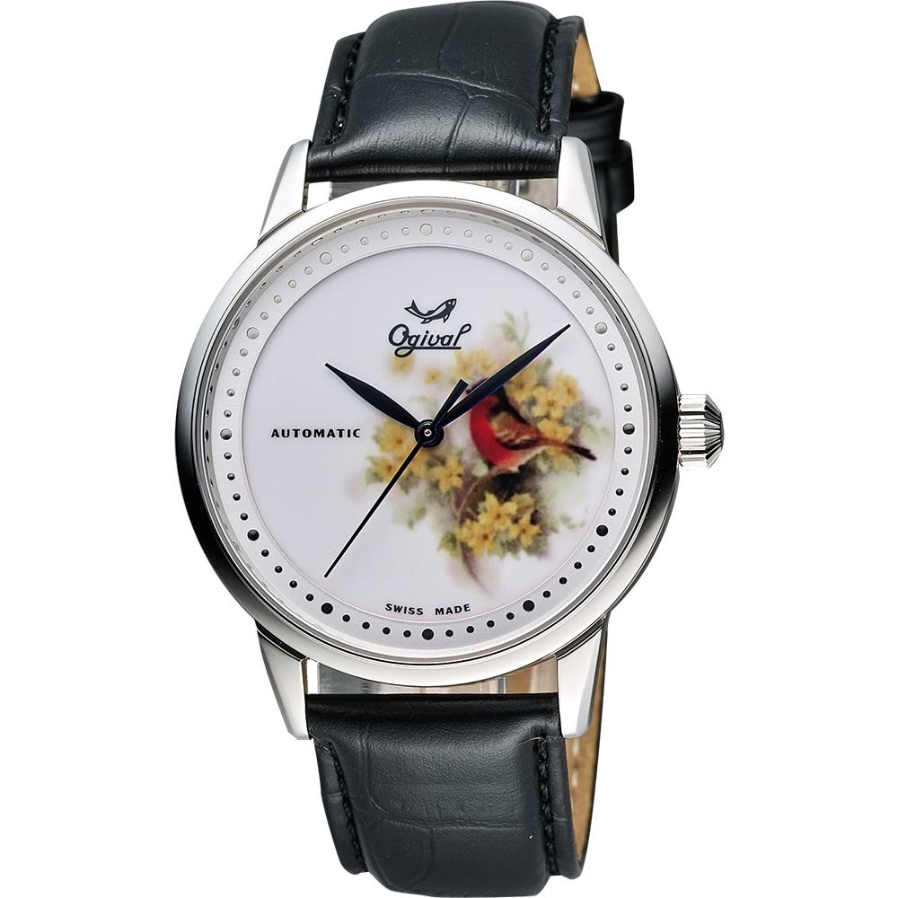 Ogival 愛其華 花繪經典彩繪機械腕錶-花卉版/40mm