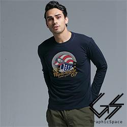 美國風安全帽磨毛水洗長袖T恤 (共二色)-GraphicSpace