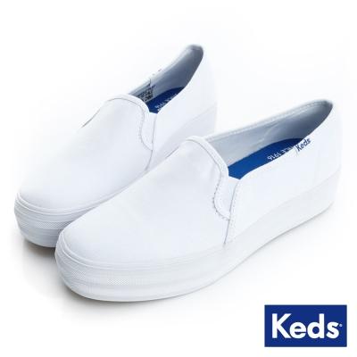 Keds 品牌經典厚底休閒便鞋-白色