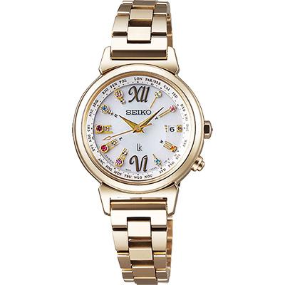 (無卡分期6期)SEIKO LUKIA 美好時光限量太陽能電波腕錶-銀x鍍金/28mm
