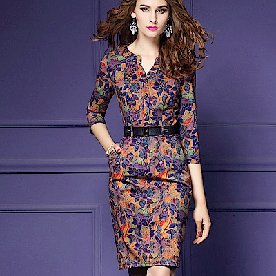 a la mode 艾拉摩兒 橘黃紫葉層彩印花排扣粗皮帶包臀洋裝(S-4XL)