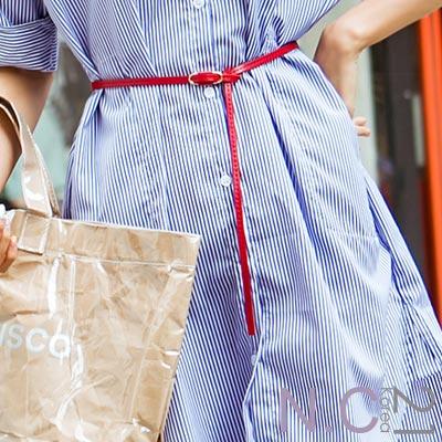 N.C21- 簡單造型穿扣式皮革細版腰帶 (共四色)