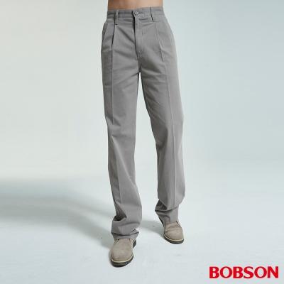 BOBSON 男款超手感打摺灰卡其休閒褲