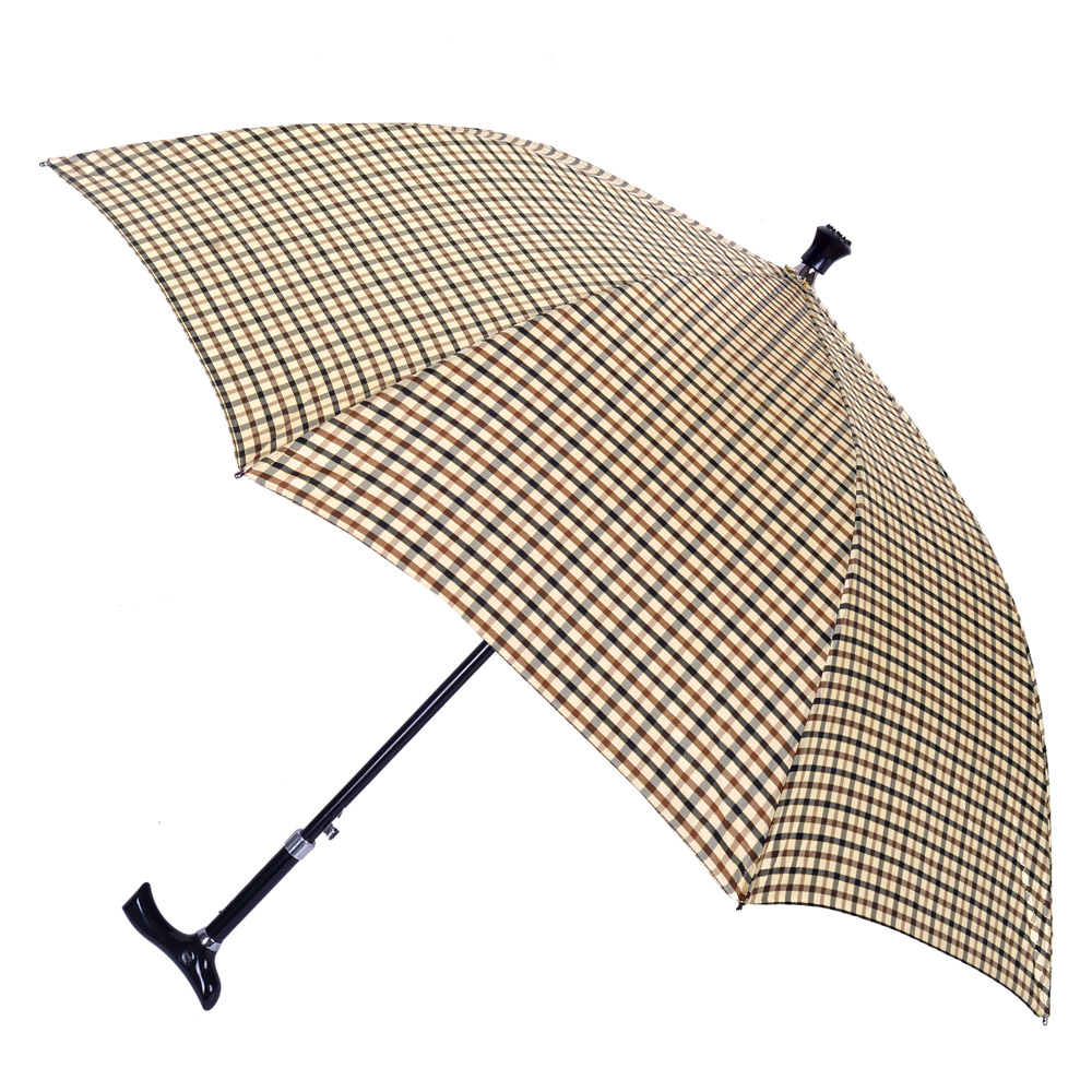 2mm 經典格紋5段式拐杖自動直傘/健行傘 (卡其)