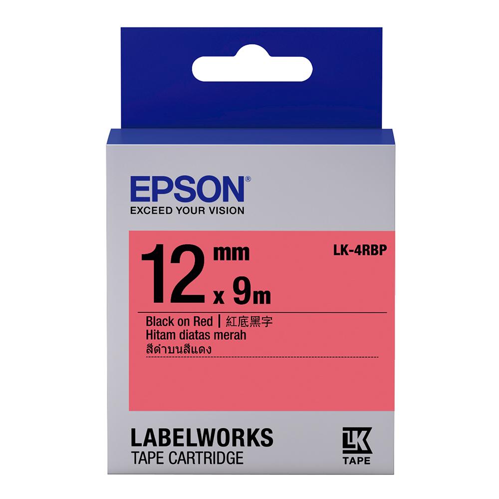 EPSON C53S654403 LK-4RBP粉彩系列紅底黑字標籤帶(寬度12mm)