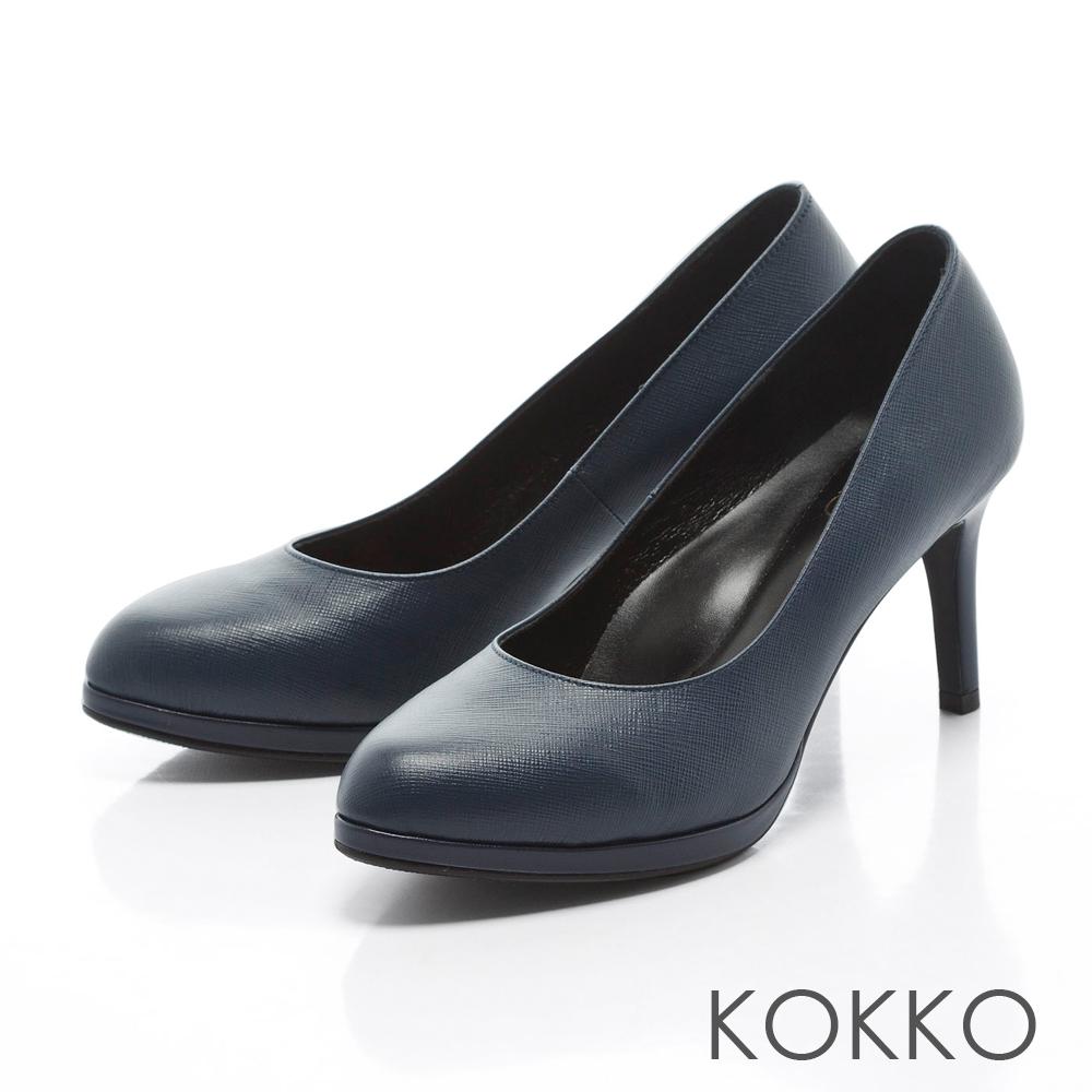 KOKKO - 復刻主義素面真皮手工高跟鞋-藍