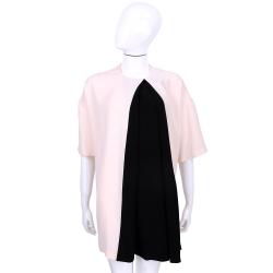 BALENCIAGA 粉x黑色拼接五分袖洋裝