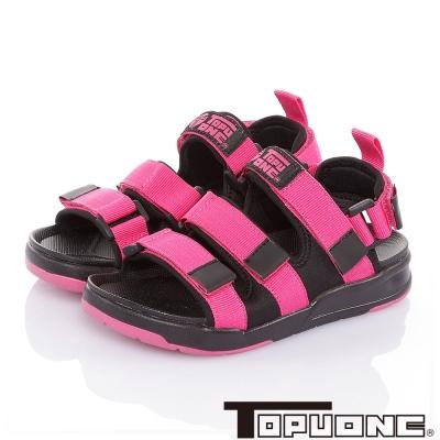 TOPUONE 腳床型輕量減壓可調式運動休閒涼鞋童鞋-桃
