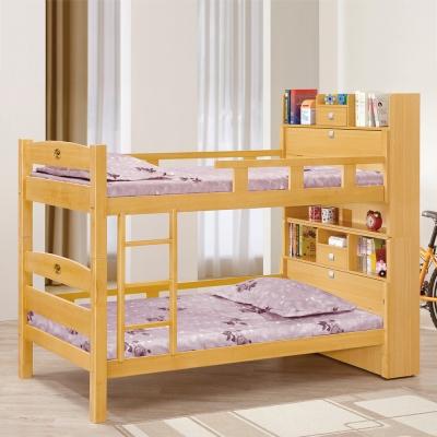 Bernice-潔妮3.7尺原木色書櫃型雙層床架