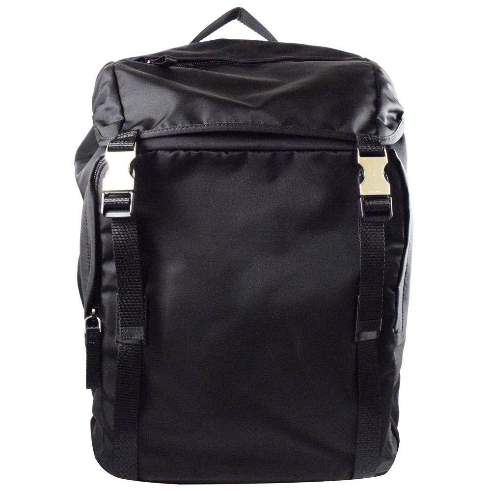 PRADA 經典三角LOGO尼龍帆布硬式束口後背包.黑